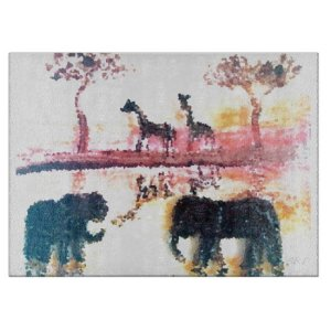 Elephant Giraffe Safari Sunset Art Cutting Board