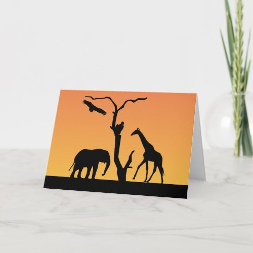 Elephant & Giraffe silhouette greetings card