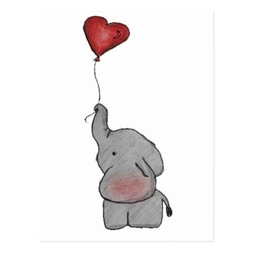 Elephant Holding Balloon Postcard