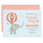 Elephant Hot Air Balloon Birthday Invitation