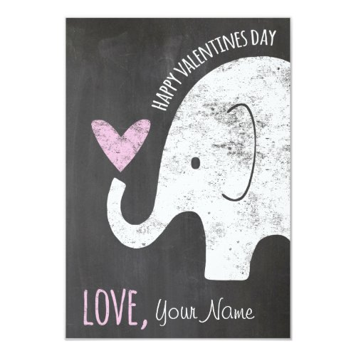 Elephant Valentines Day Kids Card for Classroom