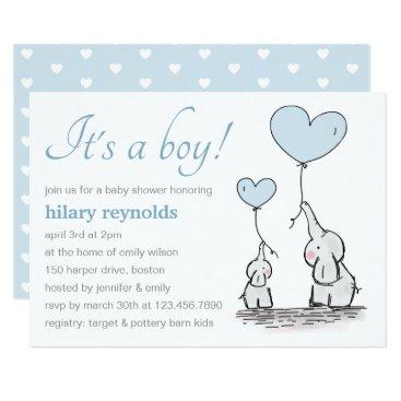 Elephants   Blue Heart Balloons Baby Shower Invitation