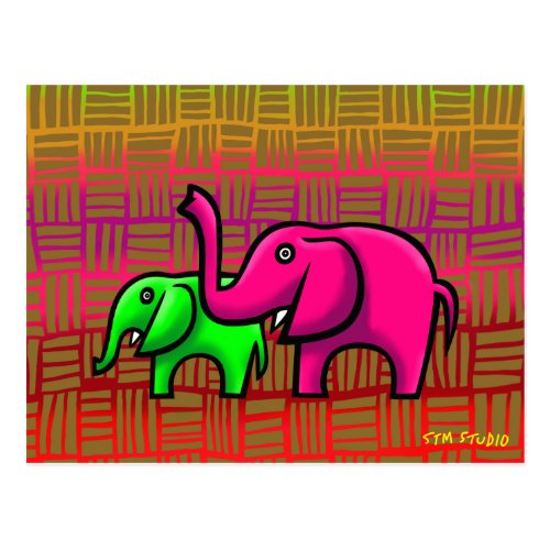ELEPHANTS GRAFFITI ART POSTCARD