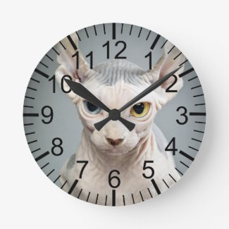 Elf Sphinx Cat Photograph Round Clock