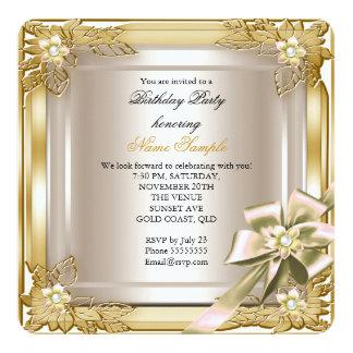 Elite Elegant Birthday Party Gold Cream Bow Card