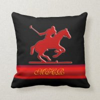 Embossed Polo Player, Monogram, red chrome-look Throw ...