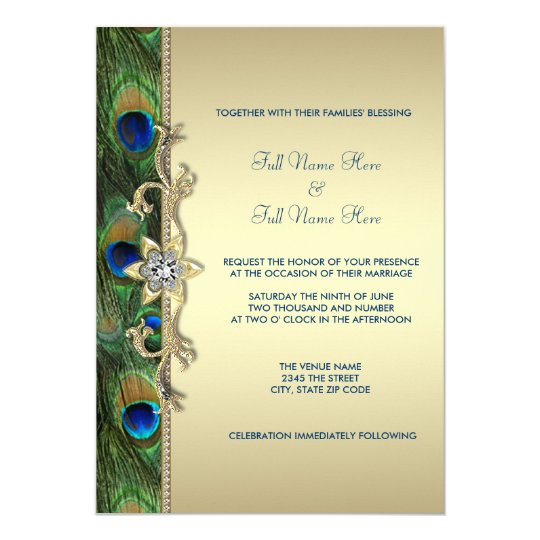Emerald Green And Gold Pea Wedding Card