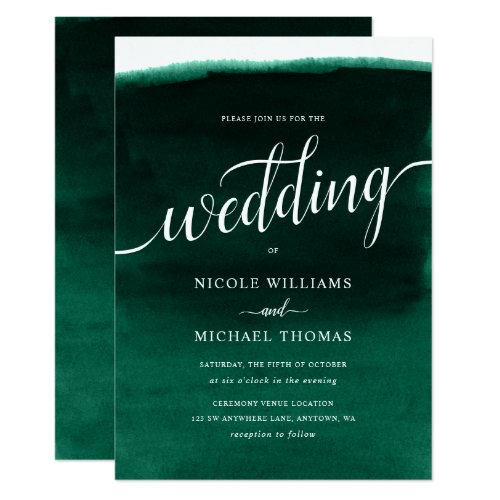 Emerald Green Watercolor Wedding Invitation