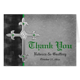 Emerald Medieval Celtic Cross Thank You Card
