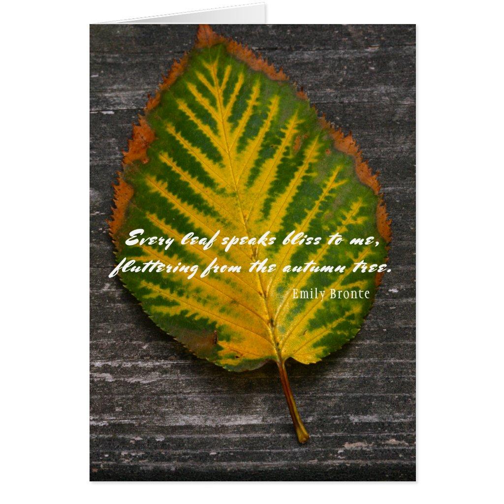 Emily Bronte Quote Autumn Leaf Card