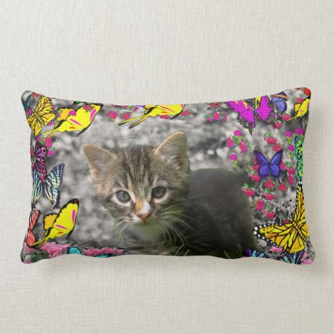 Emma in Butterflies I - Gray Tabby Kitten Lumbar Pillow