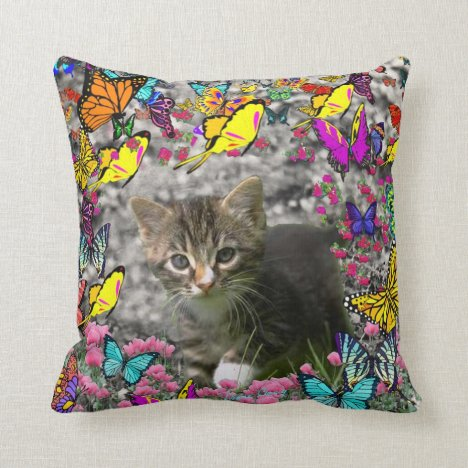 Emma in Butterflies I - Gray Tabby Kitten Throw Pillow