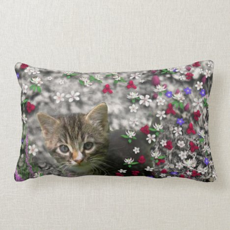 Emma in Flowers II, Little Gray Tabby Kitty Cat Lumbar Pillow