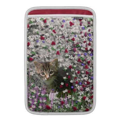 Emma in Flowers II, Little Gray Tabby Kitty Cat MacBook Air Sleeve