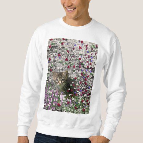 Emma in Flowers II, Little Gray Tabby Kitty Cat Sweatshirt
