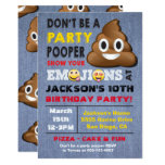 ❤️ Emoji Party Pooper Birthay Invitation