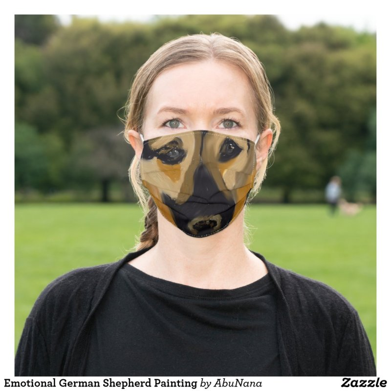 Emotional German Shepherd Painting Cloth Face Mask