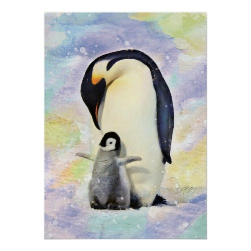 Emperor Penguin with Baby Chick Watercolor Art Poster