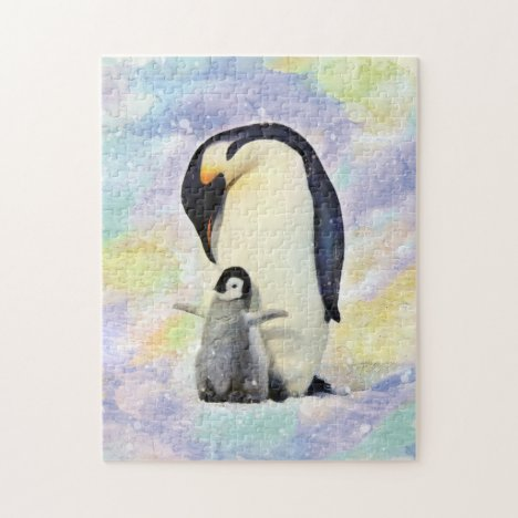 Emperor Penguin with Baby Chick Watercolor Jigsaw Puzzle