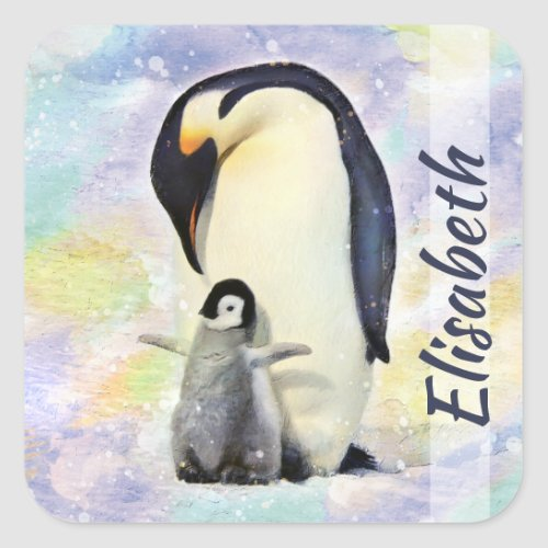 Emperor Penguin with Baby Chick Watercolor Square Sticker