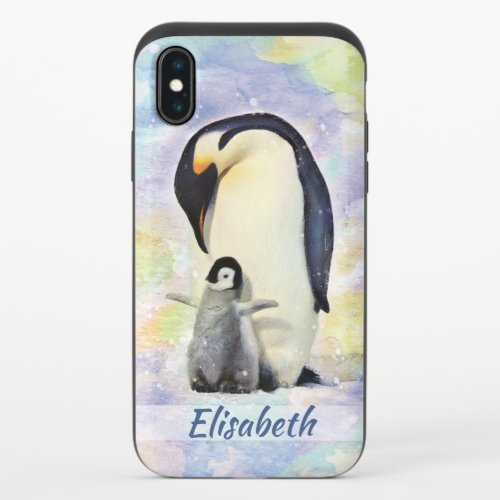 Emperor Penguin with Baby Chick Watercolor iPhone XS Slider Case