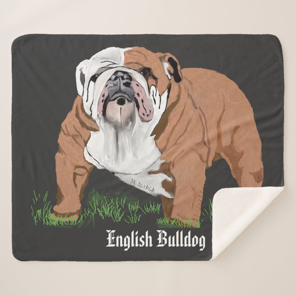 English Bulldog Sherpa Blanket