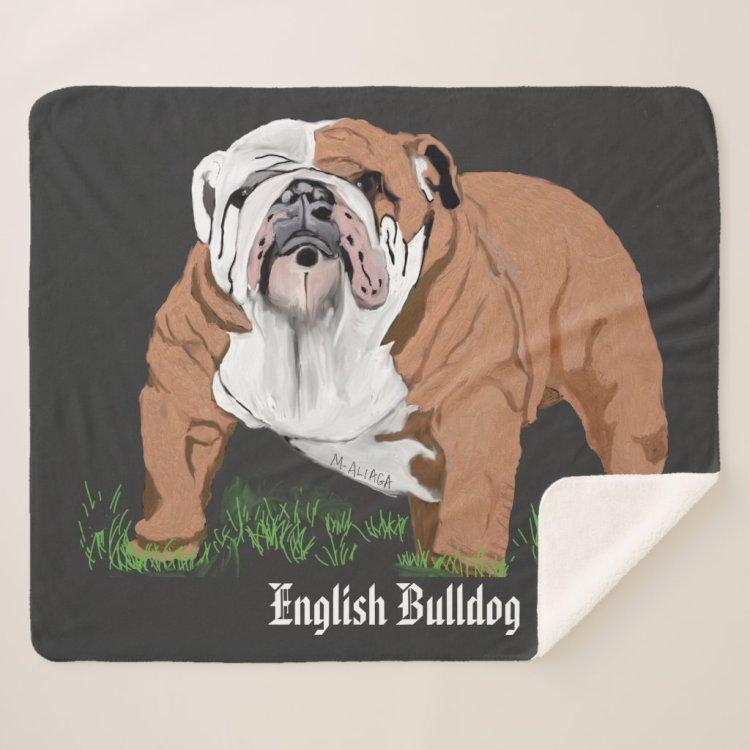 English Bulldog Sherpa Blanket