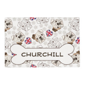 English Bulldog & Union Jacks Pet Bowl Mat Laminated Placemat