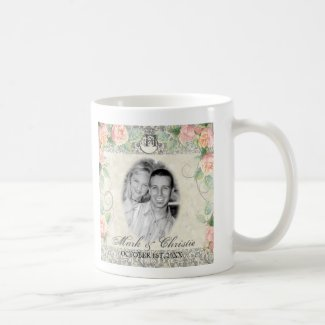 English Rose & Silver Wedding or Anniversary Mug