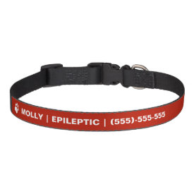 Epileptic Text And White Paw With Custom Info Dog Collar