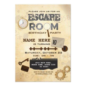 Escape Room Birthday Party Invitation Clues Spy