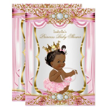 Ethnic Princess Baby Shower Pink Silk Gold Card