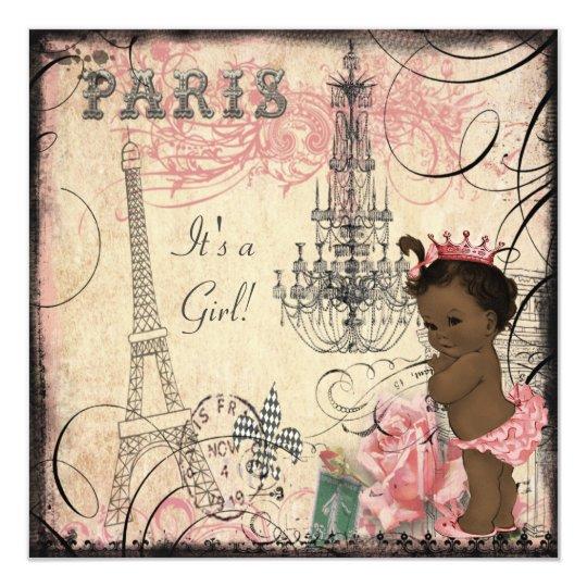 Ethnic Princess Paris Eiffel Tower Baby Shower Invitation