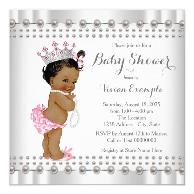 Ethnic Princess Pearl Hispanic Indian Baby Shower Card