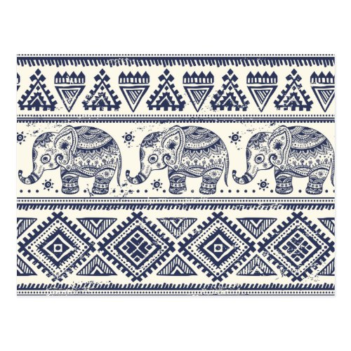 Ethnic Tribal Aztec Elephant Pattern Postcard