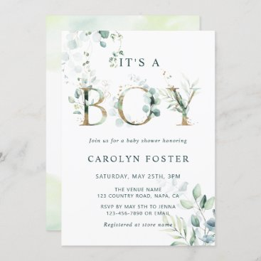 Eucalyptus Botanical Letter Gold Boy Baby Shower Invitation
