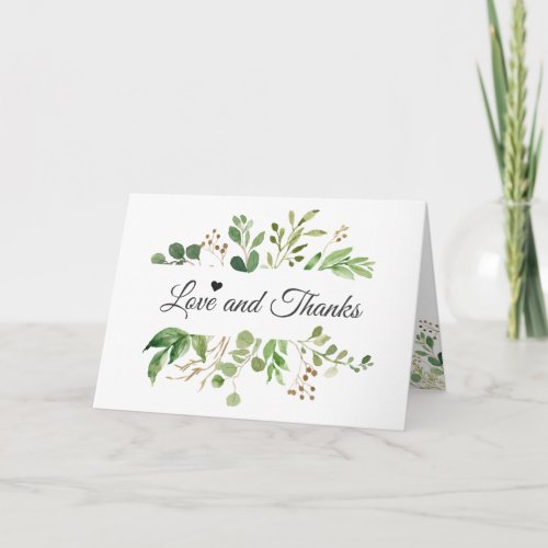 Eucalyptus Greenery Leaves Chic Love and Thanks Thank You Card