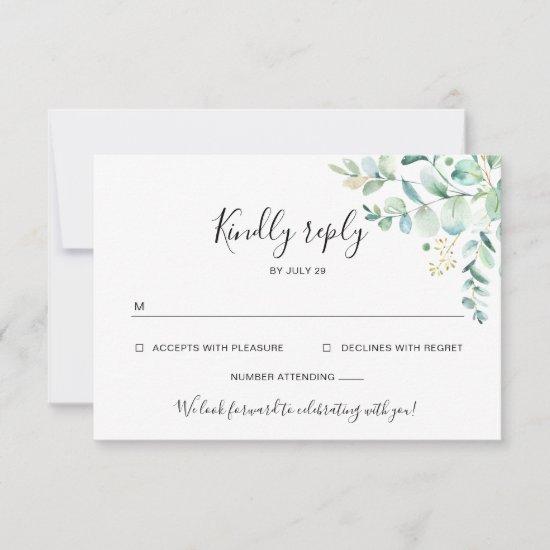 Eucalyptus Greenery Wedding Rsvp Card