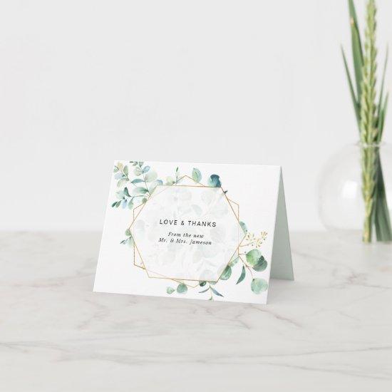 Eucalyptus Greenery with Geometric Frame Thank You Card