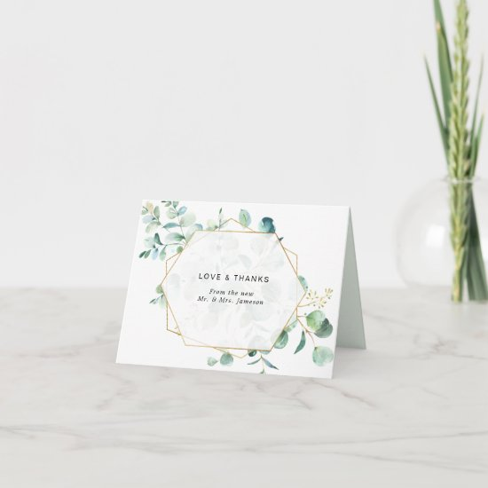 Eucalyptus Greenery with Geometric Frame Thank You Card