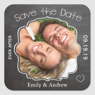 Ever After Chalkboard Wedding Save the Date Seal Square Stickers