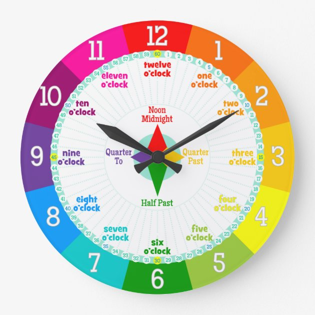 Every Second Counts Rainbow Colors Learning Clock Zazzle