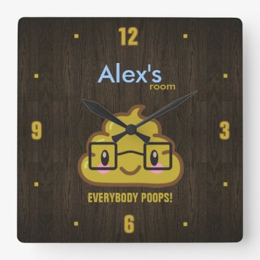 Everybody Poops Square Wall Clock