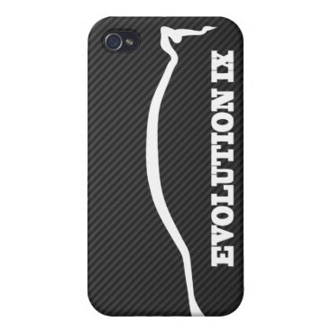Evolution Lancer 9 White Silhouette w/ Faux Carbon Cover For iPhone 4