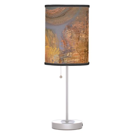 Expansion, Abstract Golden Shimmering City Dream Desk Lamp