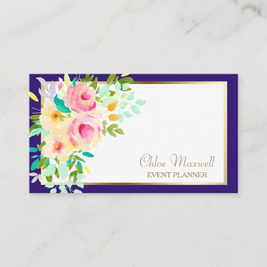 Exquisite Gold Frame Watercolor Floral Business Card