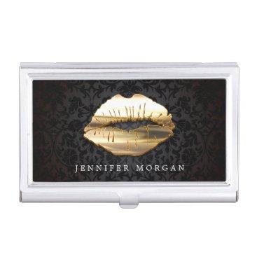 Eye Catching 3D Golden Lips Makeup Artist Salon Case For Business Cards