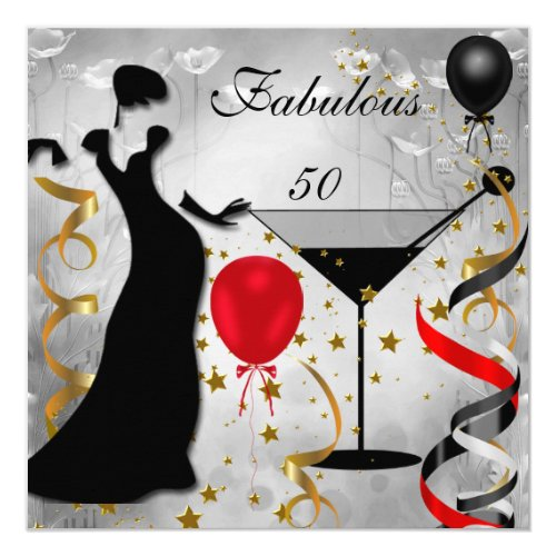 Fabulous 50 50th Birthday Party Deco Lady Red 2 Card