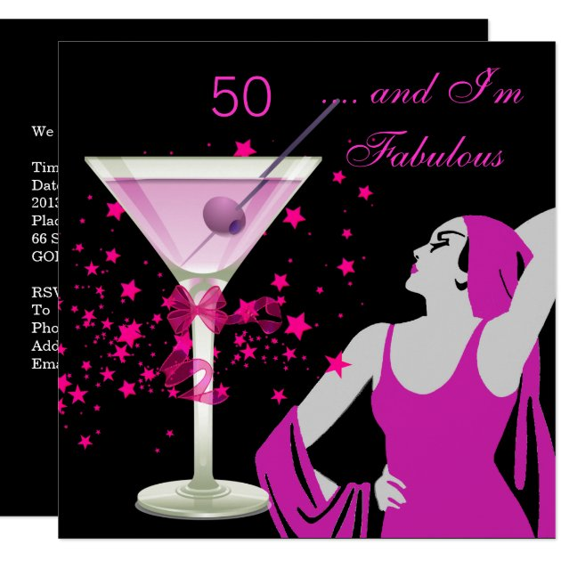 Fabulous 50 50th Birthday Party Diva Pink Black Card