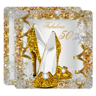 Fabulous 50 Glitter Gold Birthday Party Invitation